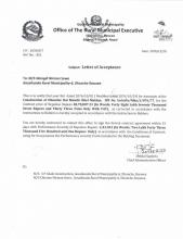 Letter of acceptance of Construction of  Dhunche Bal Mandir Khel Maidan